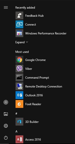 Win 10 Start menu